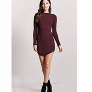 Forever 21 ribbed knit body con dress, maroon
